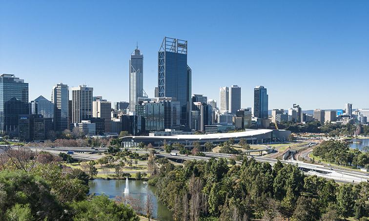 Die Sykline von Perth vom Kings Park aus