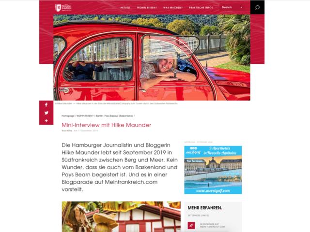 Hilke Maunder, die bloggende Journalistin. Nouvelle-Aquitaine Tourisme