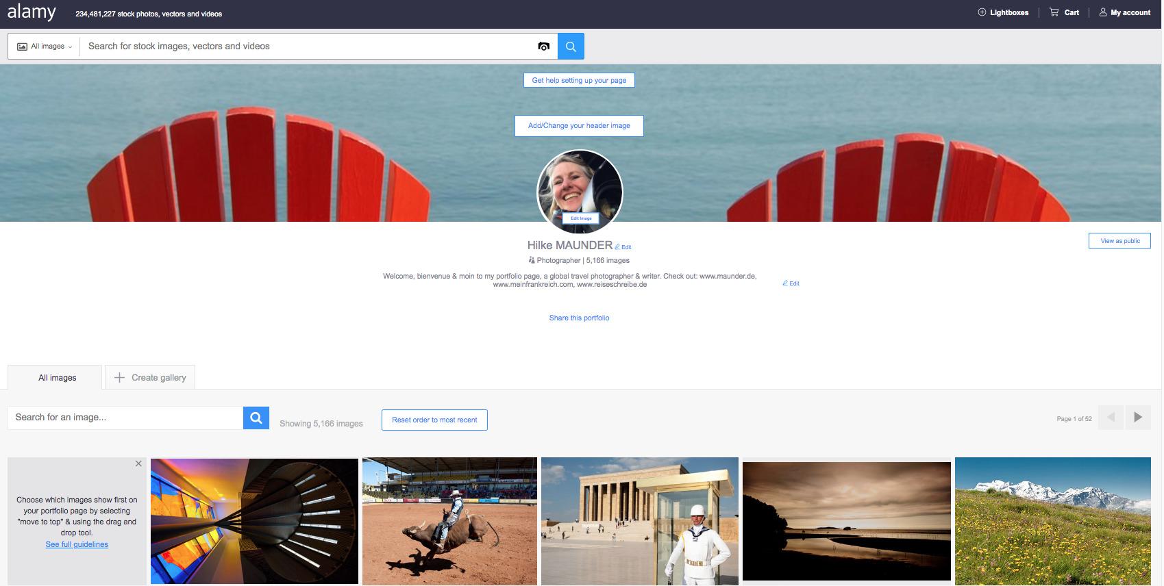 Alamy Portfolio Seite